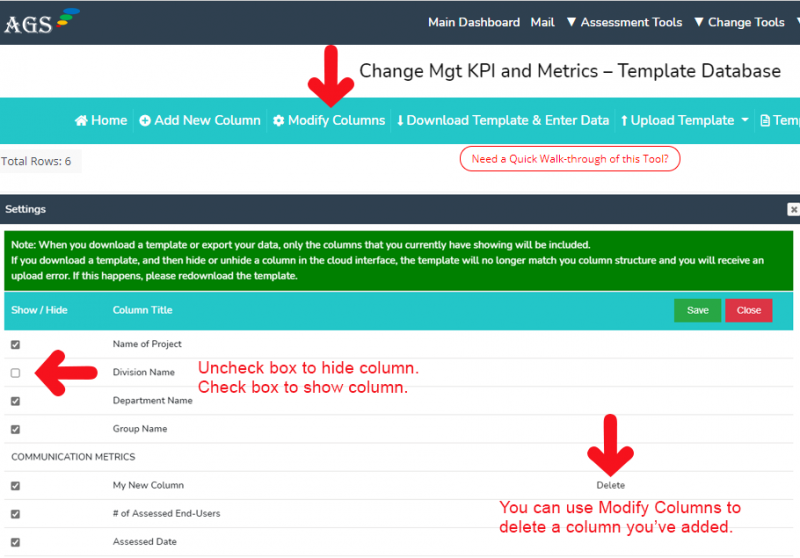 AGS Cloud - Modify Columns in Your Template
